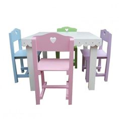Deo's Kidz Girls Table and Chairs Available at 5rooms.com Table And Chairs, Pastels, Playroom, Stool, Girls, Projects, Furniture, Home Decor, Youth Rooms
