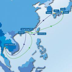 JT2 SERVICE: Laem Chabang - Hong Kong - Kaohsiung - Osaka - Kobe - Moji - Hakata - Kaohsiung - Chiwan - Laem Chabang
