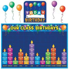Teacher Created Resources 5335 Birthday Graph Bulletin Board: Celebrate birthdays and graph information about them. Find additional tips in the teacher's guide. Birthday Graph, Birthday Chart Classroom, 1st Birthday Signs, Birthday Bulletin Boards, Birthday Wall, Preschool Bulletin Boards, Summer Bulletin Boards, Preschool Birthday Board, Birthday Charts For Kindergarten