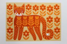First of all I reworked my original Folk Tail Cat drawing, rescanned the artwork, reprinted the acetates and then at last was able to . Scandinavian Folk Art, Scandi Art, Russian Folk Art, Fairytale Art, Cat Wallpaper, Cat Crafts, Cat Drawing, Crazy Cats, Cool Cats
