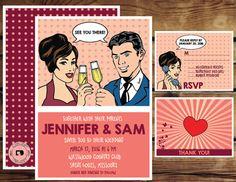 Comic strip pop art wedding invitation by conceptdesignz on Etsy