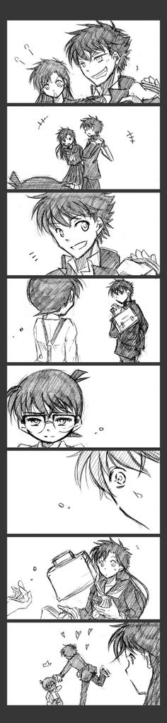 Aw~ Kaito would leave anything for Conan-kun
