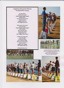 juggling recycled waste competition song and wastefamily postcard price £0.99