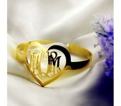 Gold Plated Monogram Bracelets in Heart Shape GMH9