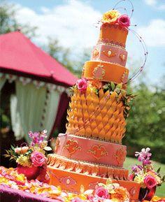 Summer Garden Wedding Cake. Cake: Barb's Cakes, Photography: Frank Carnaggio. As seen in Alabama Weddings Magazine.