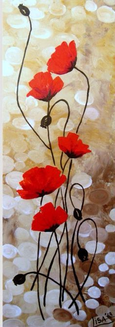 Original Acrylic Painting - Red Poppies Flowers Fields Red Beige Brown Floral Abstract - Original Fine Art Contemporary Art - Made To Order Art Floral, Acrilic Paintings, Red Poppies, Poppy Flowers, Wild Flowers, Acrylic Art, Painting Inspiration, Diy Art, Flower Art