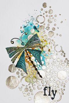 katzelkraft day - stencil / Schablonen - Die Karte ist gestaltet mit Bistre, Papier-Creme, Schablonen und Motivstempel - Idee und Umsetzung Daniela Rogall