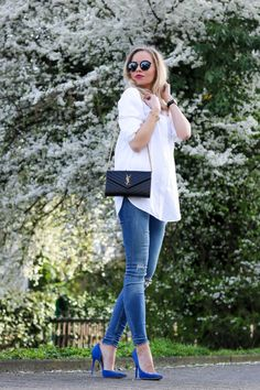 1073f3f222 Outfit  White Shirt   Cobalt Blue Heels w  Saint Laurent Bag