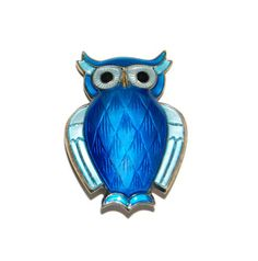 David Andersen Enamel Owl Brooch Vintage Midcentury Minimalist Guilloche Enamel Sterling Silver Woodland Jewelry Accessories Collectibles