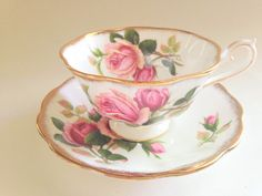 Anniversary Rose Royal Albert Tea Cup and Saucer, Tea Set, Pink Rose Tea Cups and Saucers, Antique Teacups, Large Rose Cups, VogueTeam