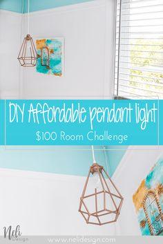 Affordable Geometric pendant light | DIY | Dowels lampshade | cheap, easy and affordable | Tutorial | instructions | $100 Room Challenge | Lampe suspendue géométrique | abat-jour | facile, pas cher | Coin lecture | Reading Nook |