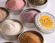 Popcorn seasoning - flavored popcorn sampler - gourmet salts for your popped corn kernels - 8 tins in a gift box