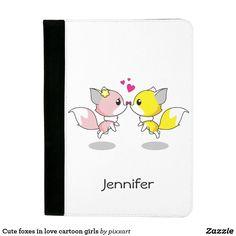 Cute foxes in love cartoon girls padfolio