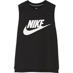 Nike Signal printed jersey tank ($36) ❤ liked on Polyvore featuring tops, tank tops, black, nike, nike singlet, side slit top, nike tops and nike tank