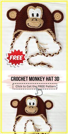 Crochet Monkey Hat 3D free pattern - FREE Crochet Hat Pattern for Beginners. Click to Get the Pattern #Hat #crochetpattern #crochet via @shareapattern.com Crochet Monkey Hat, Crochet Monkey Pattern, Easy Crochet Hat Patterns, Free Crochet, Knit Crochet, Crochet Hats, Crochet Character Hats, Kids Hats, Free Pattern