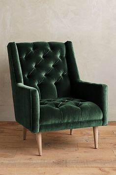 "Velvet Booker Armchair #anthropologie $1198 Dimensions 37""H, 29""W, 36""D Seat: 16""H Back: 21""H"