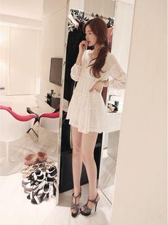 White dress, statement heels