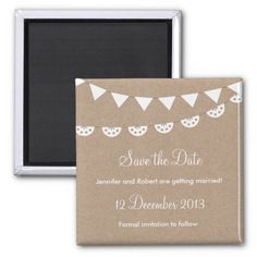 Kraft Paper and White Bunting Save the Date Fridge Magnet #DIY