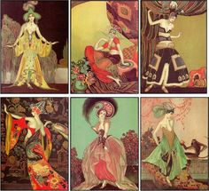 Vintage Inspired Art Deco Fashion Women Cards Tag ATC Altered Art Set of 6 | eBay