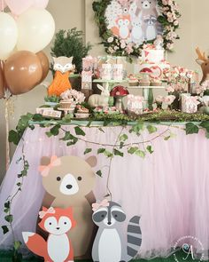 Woodland Baby Shower Decoration - 5 Woodland Animal Centerpiece Stakes - Woodland Party - Woodland Birthday - Forrest Animal Stakes Only Party Kulissen, Fox Party, Festa Party, Baby Party, Shower Party, Baby Shower Parties, Ideas Party, Party Themes, Fun Baby