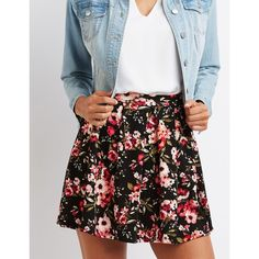 Charlotte Russe Floral Skater Skirt ($19) ❤ liked on Polyvore featuring skirts, black combo, pleated skater skirt, charlotte russe, knee length a line skirt, flared skirt and knee length pleated skirt