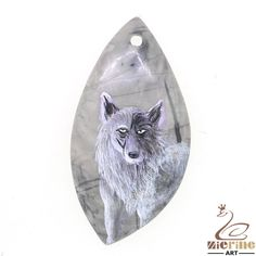 New Fashion Pendant Hand Painted wolf Necklace Natural Gemstone ZL802370 #ZL #Pendant