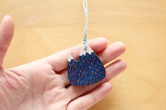 Handpainted wooden mountain necklace by Whimsy Milieu