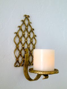 Brass Candle Sconce Candle Holder Wall Shelf by RedRoofCottage Wall Shelves, Shelf, Wall Candle Holders, Small Sculptures, Moroccan Decor, Moorish, Candle Sconces, Wall Lights, Brass