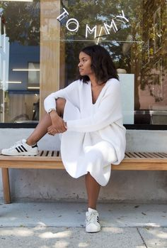 Kai Avent-deLeon of Sincerely Tommy In Front of Her Brooklyn Store Wearing Classic Black & White Adidas Superstar Sneakers // More style inspiration from Kai: (http://www.racked.com/2015/9/23/9372547/kai-avent-deleon-sincerly-tommy)