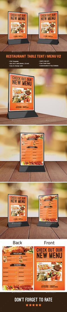 Best Table Tent Images On Pinterest Restaurant Tables Table - Restaurant table advertising
