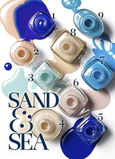 Look no further than your favorite summer hot spot for your next mani inspiration; sea blues and sandy nudes create a chic, sophisticated and summery duo Mani Pedi, Manicure, Nail Polish Colors, Nail Polishes, Foto Still, Sea Nails, Funky Hats, Summer Makeup, Best Face Products