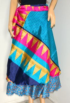 Not sure if I like the ruffle at the bottom  Silk Sari Wrap Skirt/wrap skirt/ many ways to by TopsyCurvyDesigns