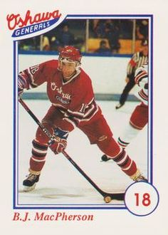 1991-92 Oshawa Generals Coke/Domino's OHL #16 B.J. MacPherson Hockey Cards, Baseball Cards, Coke, Trading Cards, Picture Cards, Collector Cards, Cola, Coca Cola