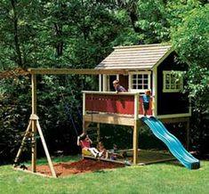 Kids Outdoor Wooden Playhouse Swing Set Detailed Plan   eBay