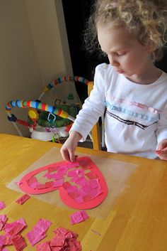 Tissue paper heart - on contact paper