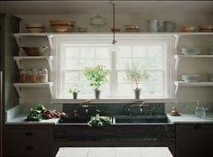 love the open kitchen shelving.