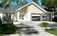 Zdjęcie projektu Evita Optima wersja A Bungalow Homes, Home Fashion, The Hamptons, Floor Plans, Exterior, Outdoor Structures, Flooring, Mansions, House Styles