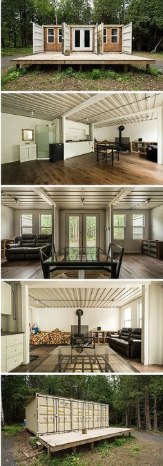 A 355-square-feet home made of three re-purposed shipping containers. Cost: $10,200.