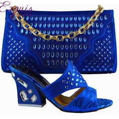 57.89$  Buy now - http://aliozb.worldwells.pw/go.php?t=32619300882 - Beautiful Italian-style shoes with matching bag nice for party free shipping  royal blueGF52 57.89$