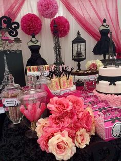 Paris birthday party dessert table! See more party ideas at CatchMyParty.com!