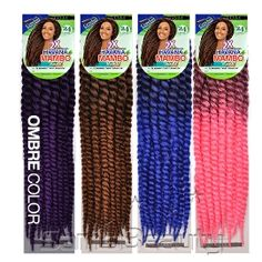 """Gets frizzy but colors are nice Janet Collection Synthetic Hair Crochet Braids Havana 2X Mambo Twist Braid 24"""""""