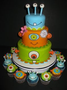 Lime, Orange & Blue Monster Cake and Cupcakes Monster Birthday Cakes, Monster Birthday Parties, Cupcake Birthday Cake, Monster Party, Monster Cakes, Birthday Ideas, Monster High, Cupcakes, Cupcake Cakes