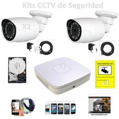 159,20€ mas iva Kits cctv 2 Cámaras full HD 1.3 Mp1 grabador DAHUA 1 disco cables y alimentadores