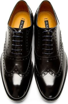 Ps By Paul Smith: Black Leather Monty Wingtip Brogues