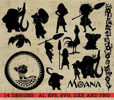 Moana Silhouette, Disney Princess Moana, Disney svg, Cutting file, Cards, Invitation, Disney Princess Vinyl, SVG,  These images are large. Please double click on previews to see the details. The Monogram in the center and the watermark will be removed on file delivery. No Fonts are included in this sale. :) • • • ♥WHAT DO YOU GET? ♥ • • •  You get over (14) clipart images in individual png files at 300 DPI Solid Color. These items print beautifully. Print as many times as you like your home…