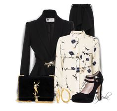"""""""Black Suede - Bag & Shoes"""" by eula-eldridge-tolliver ❤ liked on Polyvore featuring Lanvin, Ganni, Kate Spade and Yves Saint Laurent"""