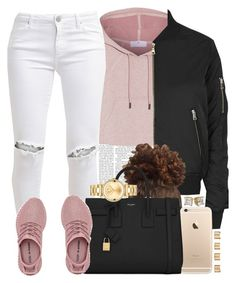"""""""Pink Yeezys (the best ones I've seen tbh)🌸🐚"""" by livelifefreelyy ❤ liked on Polyvore featuring adidas, Topshop, FiveUnits, Yves Saint Laurent, Movado and Maison Margiela"""