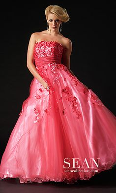Long Strapless Pink Ball Gown at PromGirl.com