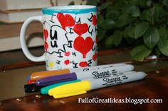 Full of Great Ideas: Christmas in August - Permanent Marker Designs on Mug and Plate
