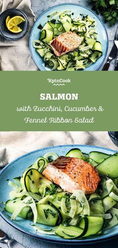 Fresh Salad with Fish: Salmon with Zucchini, Cucumber & Fennel Ribbon Salad. This delicious salad with fresh salmon is absolutely stunning! Within 30 minutes this quick and easy recipe is ready to serve. Doesn't matter if you enjoy this tasty recipe alone or with friends - vegetables and fish is always a good idea! #kptncook